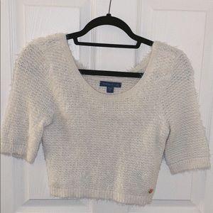 Kendall & Kylie fuzzy crop cream sweater